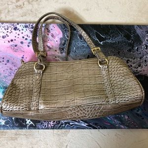 Faux snake skin purse in a neutral color